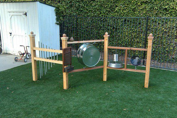 backyard toddler music station: cool idea, but needs really tolerant neighbors!