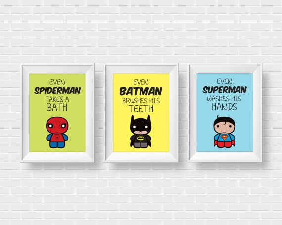 A set of 3 high quality poster illustrations with inspirational bathroom rules for kids with their favorite Superheroes in modern style. A fun way for kids to keep up with bathroom rules! ••• Includes ••• 3 digital files in A3 size (29.7 x 42 cm / 11.7 x 16.5 in) All in high quality (300 dpi), JPEG format. This listing is for an INSTANT DOWNLOAD. No physical product will be delivered.  The digital files will be instantly available to download, after your payment is received. You can print…