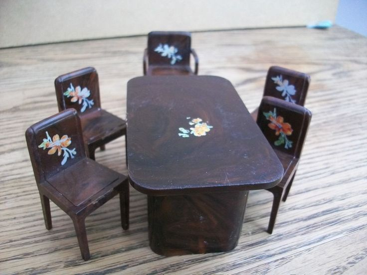 Vintage Dolls House Dining Room Table and Chairs | eBay