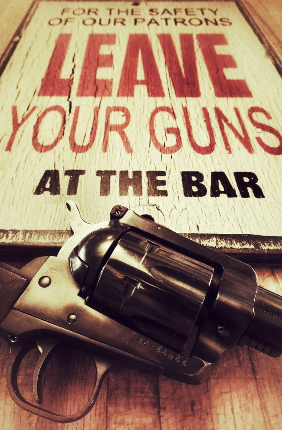 Man cave gun sign made from reclaimed plywood by KingstonCreations, $30.00