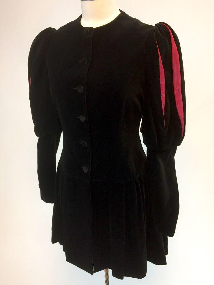 Super Rare Vintage Black Velvet Laura Ashley Jacket size M. Designer 80s steampunk coat