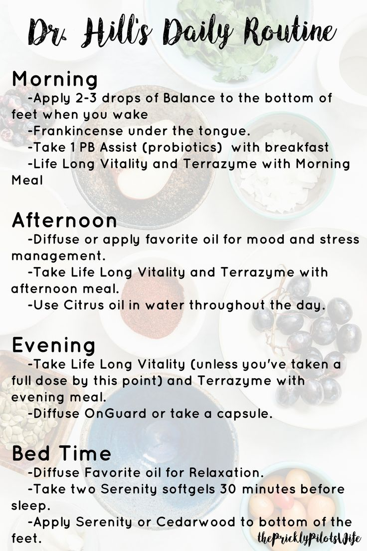 Dr. Hill's daily doTERRA Essential Oil Routine! Here's the quick guide! Save and read later the details of Dr. Hill's recommended essential oil routine.  Learn more about essential oils and supplements on my blog @ www.thepricklypilotswife.com #doterra #drhill #essentialoils