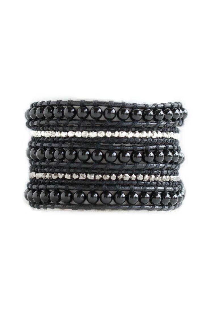 Mysterious #Black #Onyx Nugget Wrap Bracelet on Black Leather www ...