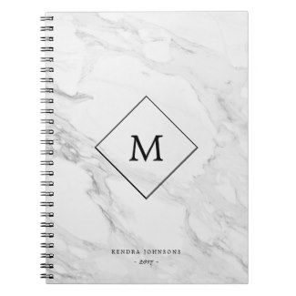 £9.95 Monogram #marble notebooks which can be personalised with her initial and customised to include her name. A great #SecretSanta #Gift Idea under £10 | #Ad