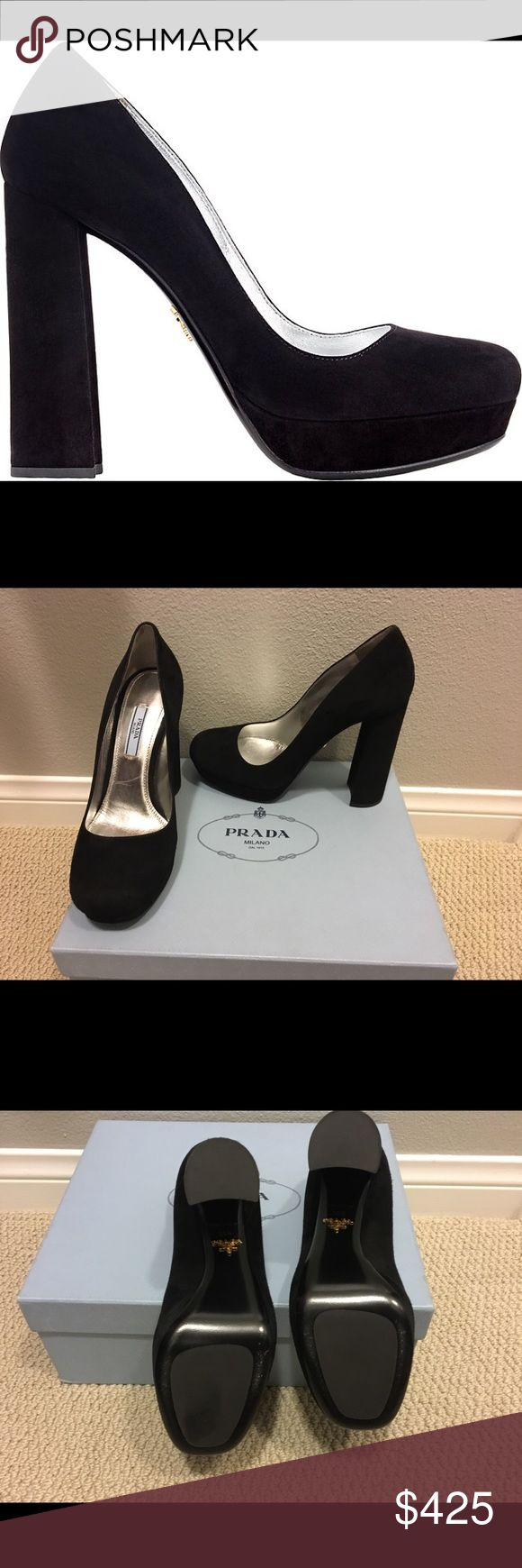 """Prada Suede Platforms, Black PRADA Suede Platform Pumps  Style # 503976781 Size 8.5 Color BLACK Includes box and dust bags  Prada's black suede platform pumps are styled with a rounded toe and thick heel.   4.5""""/115mm heel, 25mm platform (approximately) Self-covered platform and thick heel Slips on Leather sole with metal logo detail Lined Made in Italy  VEUC, worn once inside. Prada Shoes Platforms"""