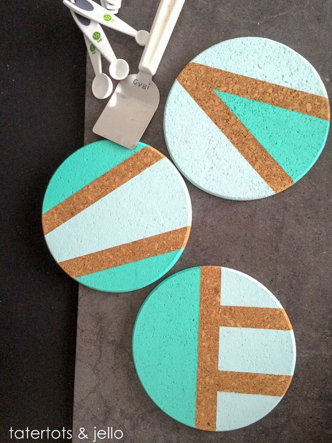 Easy Color-Blocked Trivet & Coaster DIY Gift Idea!! -- Tatertots and Jello