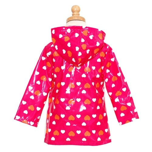 Tiny raincoat in pink and orange.