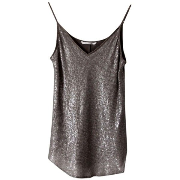 Pre-owned Silk Sequin Top Silver (£110) ❤ liked on Polyvore featuring tops, silver, sequin cami, silver sequin top, silver cami top, silk top and cami top