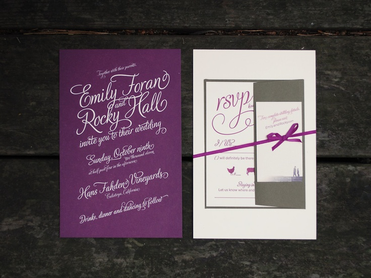 26 best calistoga wedding invitation suite images on pinterest front and back view of unwrapped reverse letterpress printed invitation by three little words stopboris Gallery