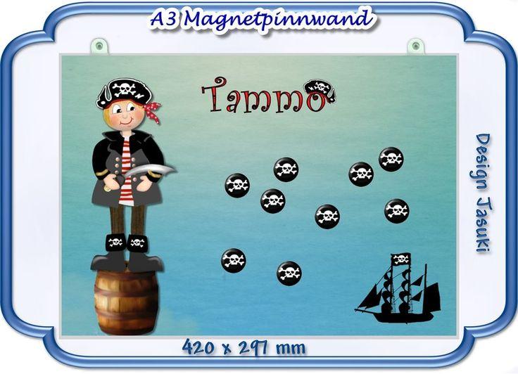 A3 Magnetpinnwand,Pirat, Magnettafel von Jasuki auf DaWanda.com
