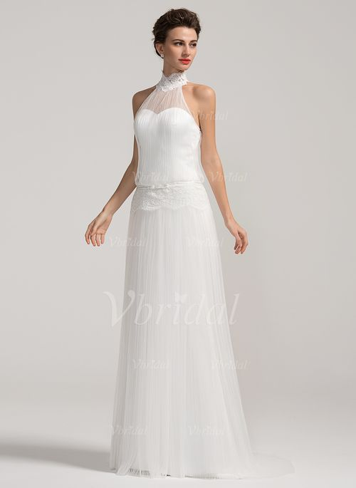 Wedding Dresses – $143.44 – A-Line/Princess Halter High Neck Sweep Train Tulle 30D Chiffon Wedding Dress With Lace (0025059547)