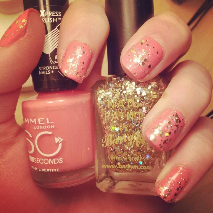 Sparkle coral nails, barrym gold sparkle and rimmel coral nail polish