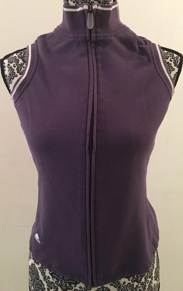 ADIDAS Zip-Up Sleeveless Polo Shirt Purple White Women's Size S/P Cotton Blend #adidas #ShirtsTops