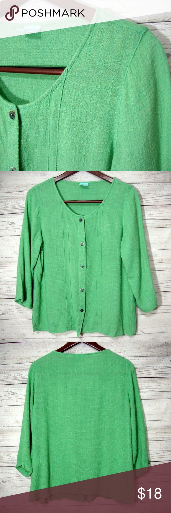 Color Me Cotton CMC Womens Green Shirt Small S Top From CMC  Size S  Laying flat it measures: underarm to underarm - 21 inches across from back of neck to bottom - 22.5 inches  Color: green  Gently used  From a smoke free and pet friendly home Color Me Cotton Tops Blouses