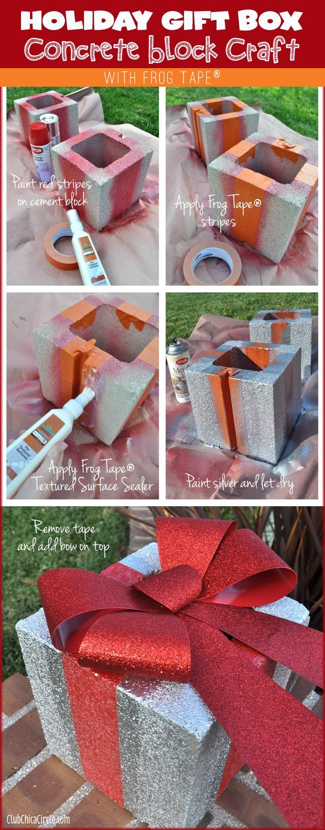 Holiday Gift Box Concrete Brick Tutorial: It's a really great way to add some fun holiday decor to the outside of your home. Turned simple concrete blocks into a fun holiday gift boxes. So cute!