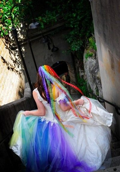 b: Ideas, Wedding Dressses, Rainbows Wedding Dresses, Bohemian Wedding, Weddings, Rainbows Bride, Offbeat Bride, Wedding Theme, Rainbow Wedding Dress