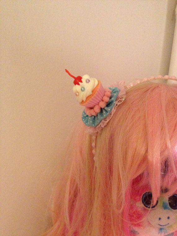 Pink Cherry Cupcake Whipped Cream Frosting Ruffles Pink And Baby Blue Sweet Lolita Headband