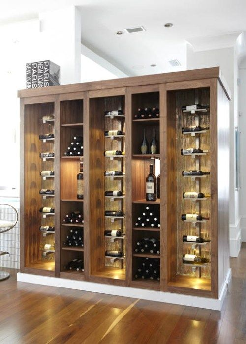 Variety in display. Lighting the featured bottles. Our design would be top half.