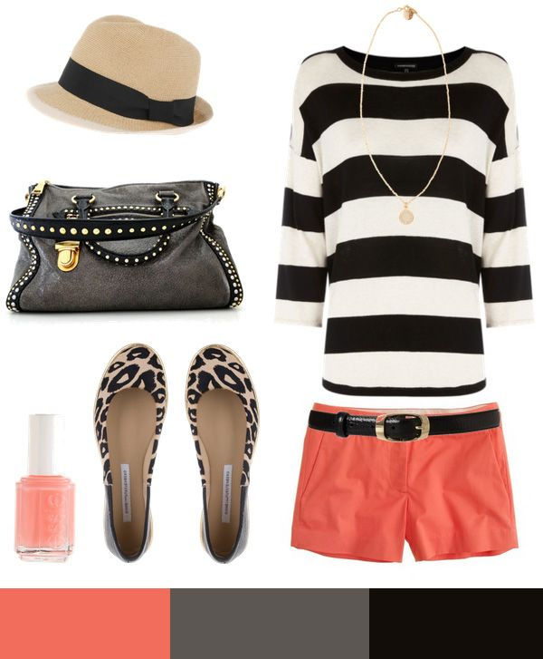 gimme!!!!Colors Combos, Fashion, Summer Outfit, Style, Black And White, Black White, Colors Schemes, Stripes, Coral Shorts