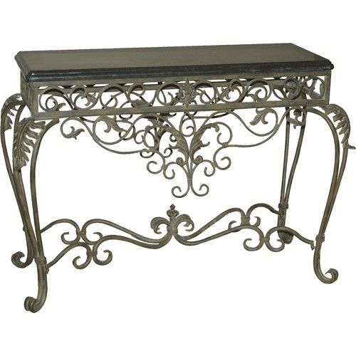 Ornate Wrought Iron Scroll Console Table With Black Marble Top Mydecoreview In 2018 Pinterest Furniture And Decor