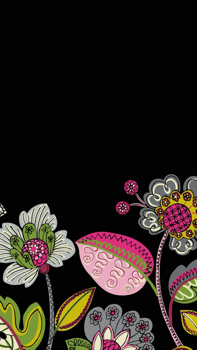 Dress your tech: Moon Blooms Mobile Wallpaper | Vera Bradley- would be a cute quilt idea, bright flowers on black background Dress your tech: Moon Blooms Mobile Wallpaper | Vera Bradley- would be a cute quilt idea, bright flowers on black background