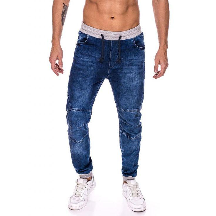 Pánske jogger nohavice jeansové (džínsové) sivé