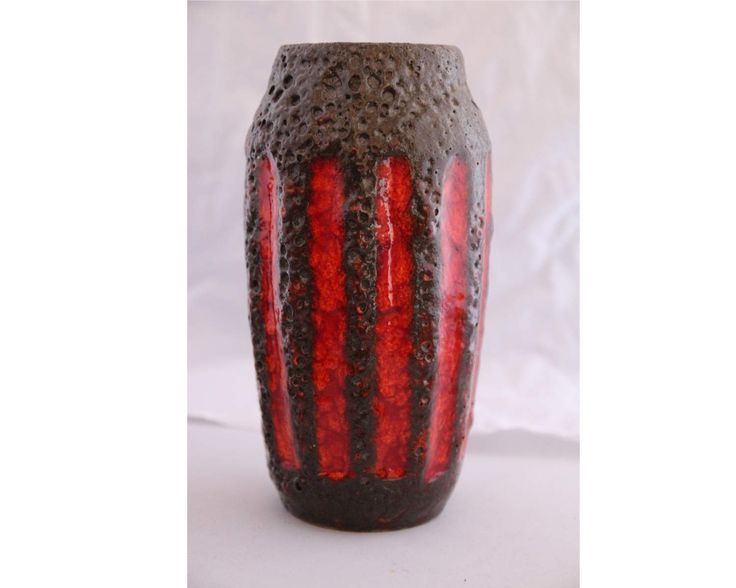 Scheurich 242/22 - Form of Lora decor showing deep red bands in a thick fat lava brown background. Great example of 60s West German Pottery by QuirkAge on Etsy