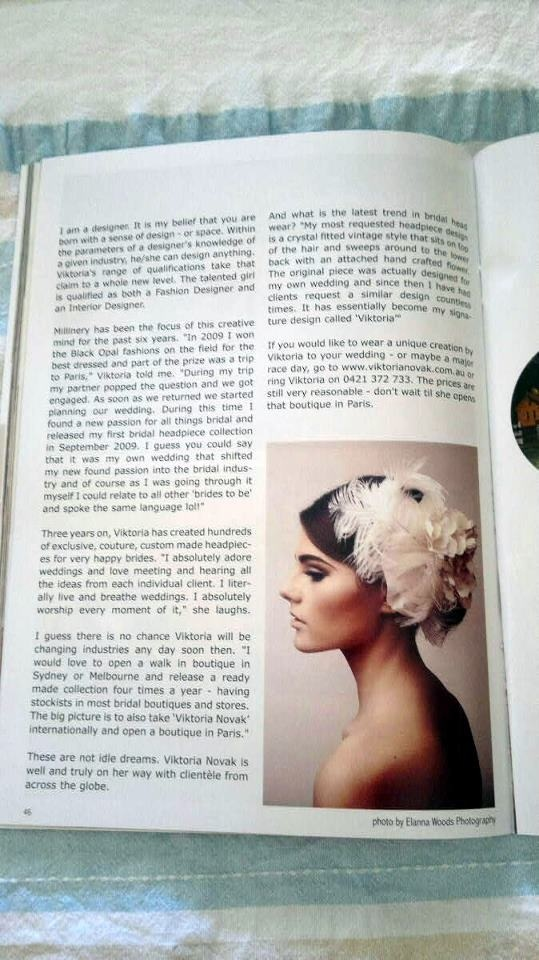 As featured in MacArthur Annual Magazine 2013 - Headpiece by Viktoria Novak: www.viktorianovak.com.au   Photography: Elanna Woods