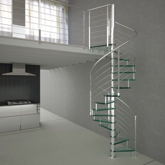 Indoor Spiral Staircase With Solid Wood Tread In 2020 Stairs
