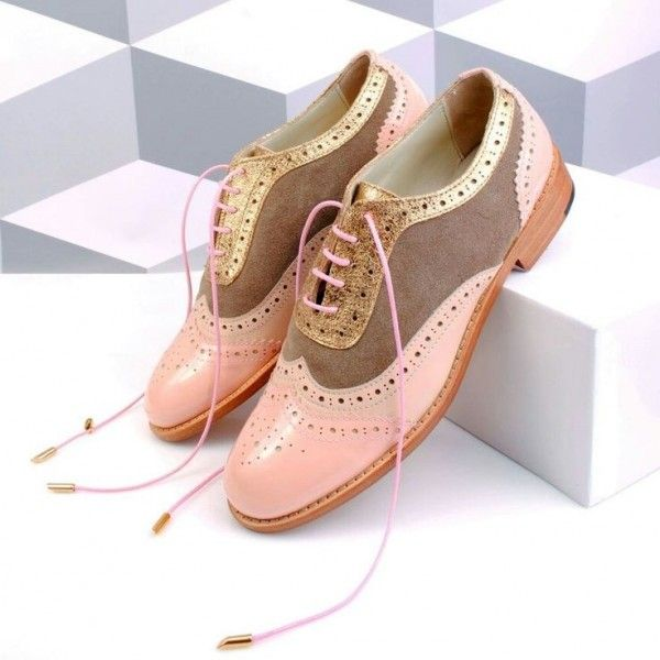 Pink and Brown Wingtip Women's Oxfords