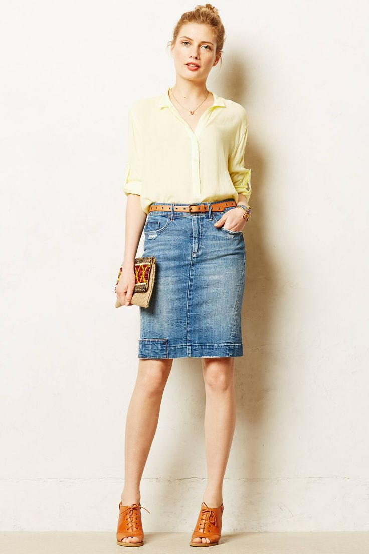 super cute, would totally rock this look everyday... Pilcro Denim Pencil Skirt - anthropologie.com