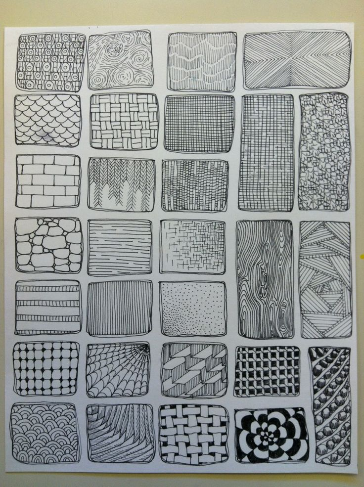 Here is a handout I just finished to show my student just a handful of possibilities when it comes to visual texture. They will be referring to this when working on their zentangles in class. The p…