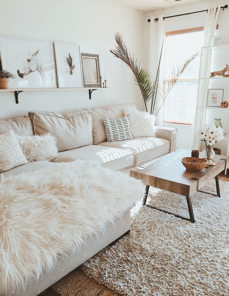 White living room. Modern boho farmhouse #DeskLamp…