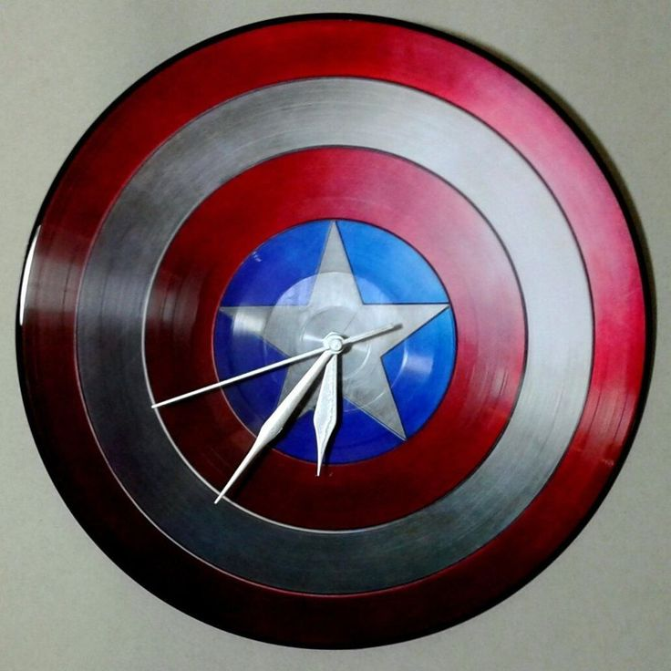 Captain America First Avenger Picture Disc Red White Blue Enameled Wall Clock