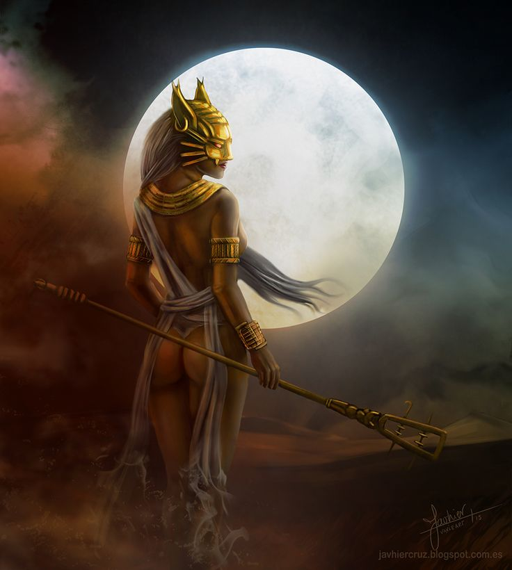 Bastet - as a cat, she was connected with the moon (her son Khonsu was the god of the moon) and as a lioness, she is associated with sunlight