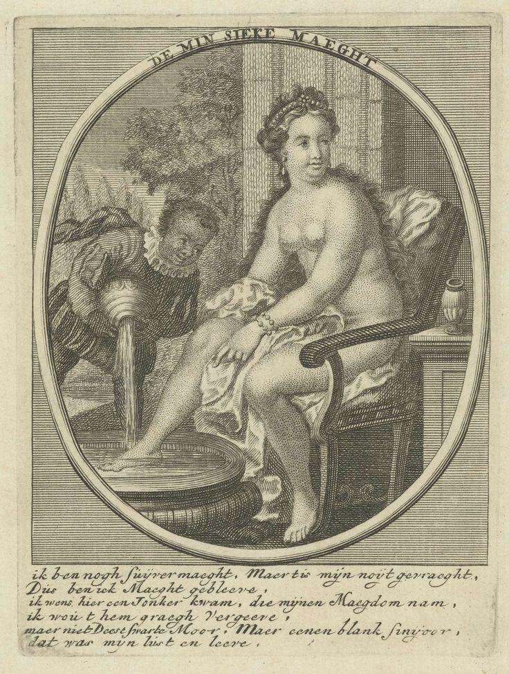 Anonymous | Minzieke maagd, Anonymous, 1700 - 1900 | Een naakte maagd baadt haar voeten. Een zwarte man vult het voetenbad met water. Onder de voorstelling een dubbelzinnige vierregelige tekst in het Nederlands.