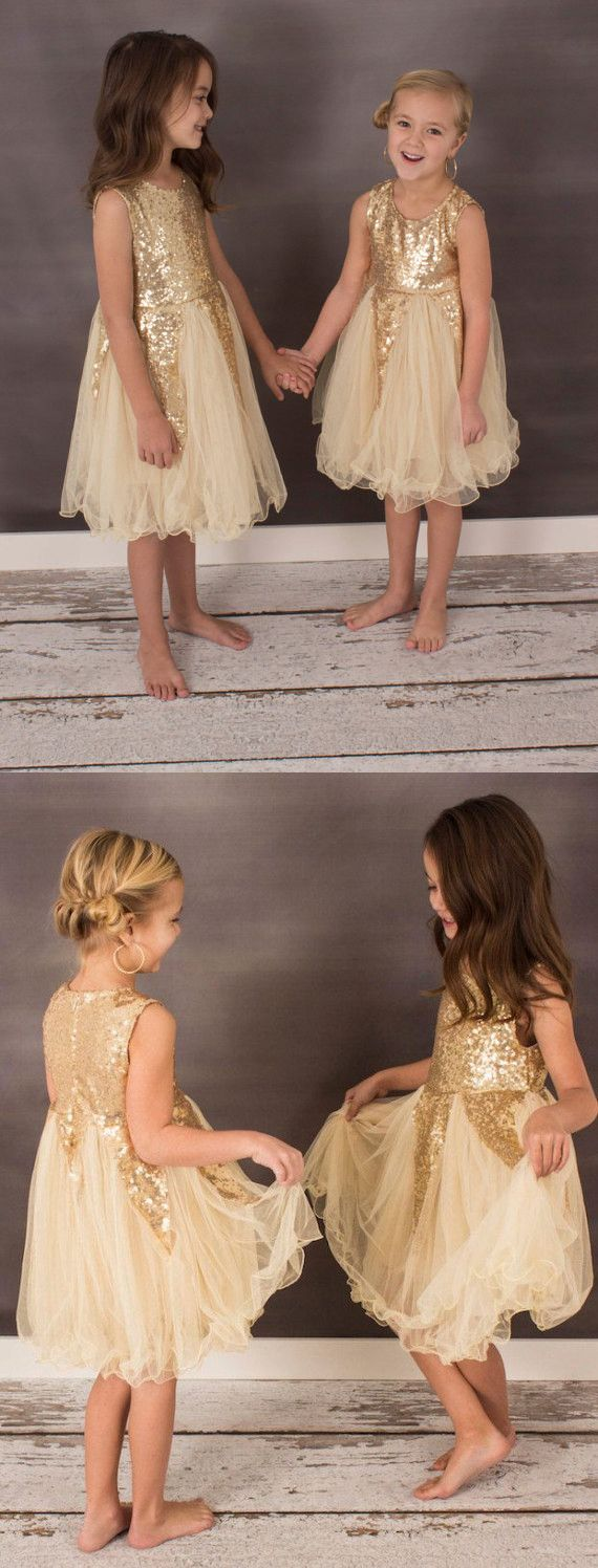 cute flower girl dress, short flower girl dress, gold flower girl dress