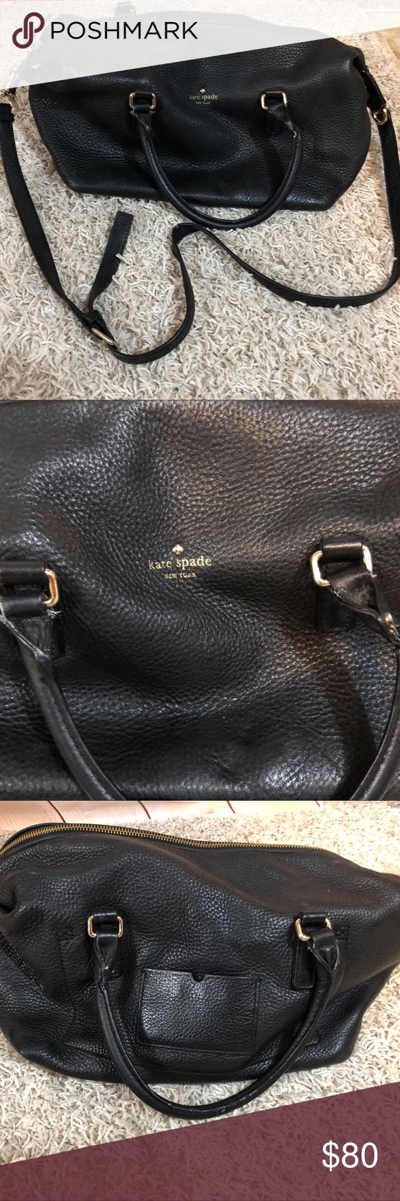 Kate Spade Black Pebbled Leather Hobo Shoulder Bag This is a used bag. Some staining on the lining because, Mom bag ;) But Leather is without damage and is super roomy. Shoulder strap and hand straps. Metal finishing show some wear. Very good every day bag. kate spade Bags Hobos