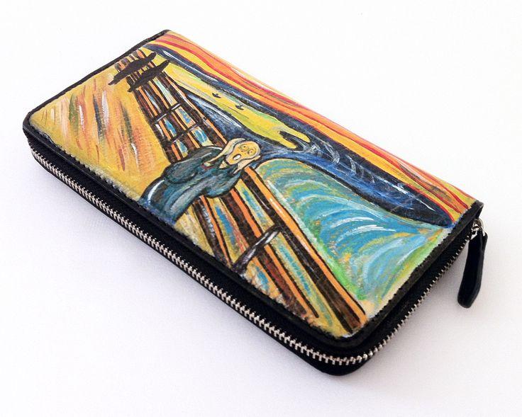 "Portafogli dipinto a mano -hand painted wallet -""The Scream"" by Munch - ""L'Urlo"" di Munch- www.artelisanti.com  #ArteLisanti #MadeinItaly #GenuineLeather #VeraPelle #wallets #portafogli #handpaintedwallets #portafoglidipintiamano #fashion #style #stylish #beautiful #pretty #girl #girls #design #model #shopping #glam #ThePaintingToWear #Munch #TheScream"