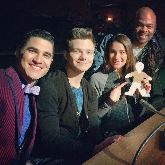Lea Michele, Chris Colfer and Darren Criss BTS of Glee