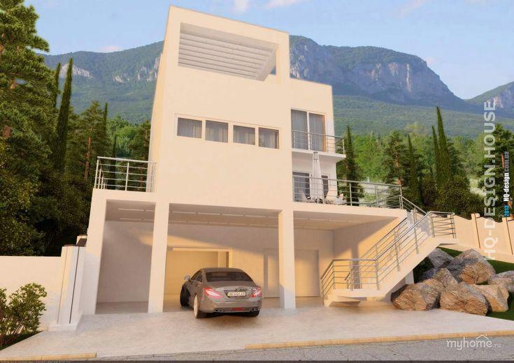 Современный дом с плоской кровлей для заказчика из Крыма. За счет резкого перепада рельефа, характерного для этой местности, вход в жилой этаж дома предусмотрен по двухмаршевой лестнице. В доме также разместился встроенный гараж.