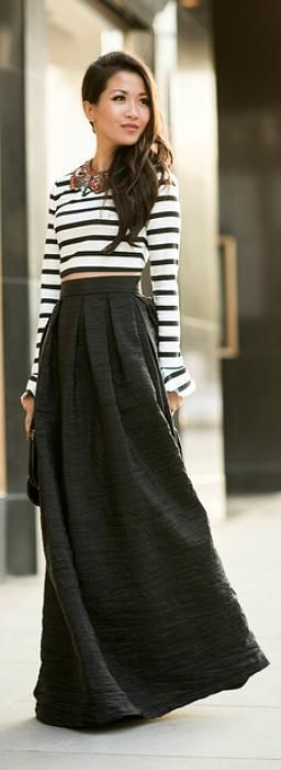 Daily New Fashion : High waisted maxi + crop top