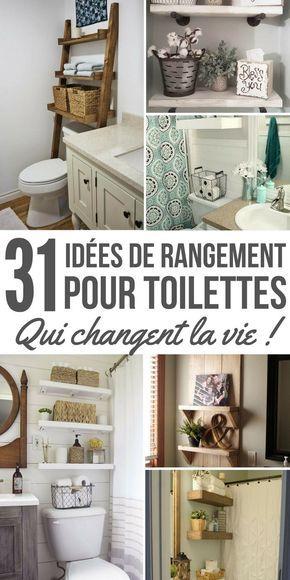 Dans les salles de bain, je trouve qu'on n'a jamais assez d'espace de rangement, surtout si on vit dans une petite maison ou un appartement. Avec tous les articles de toilette, les serviettes, et tout le reste, le petit espace sous l'évier ne peut pas tout supporter ! Il ne faut pas non plus oublier que l'objectif est double. Pouvoir ranger correctement nos affaires et décorer l'espace de manière chaleureuse. #rangement #organisation #astuce #salledebain #wc #toilette #etagere #decoration