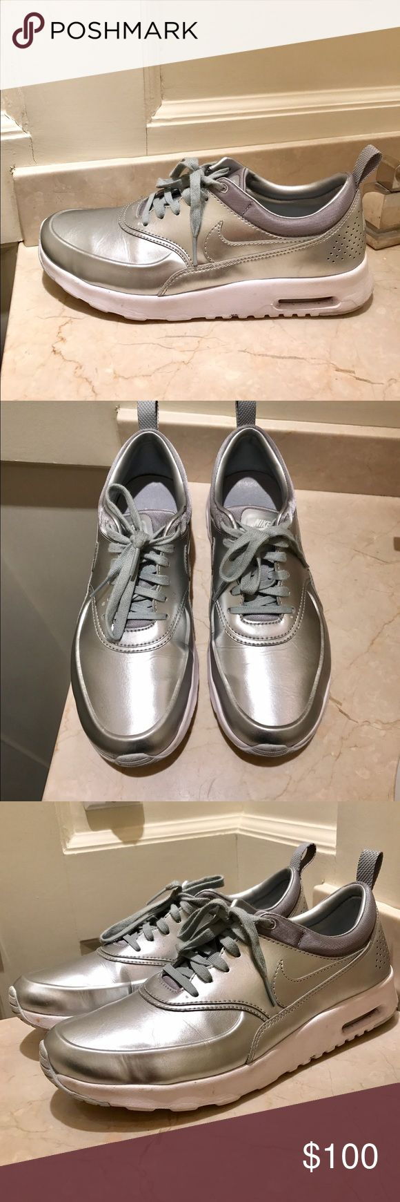 Nike Silver Air Max Sneaker Size 8.5 Nike Silver Air Max Sneaker Size 8.5. Worn a few times. In good condition Nike Shoes Sneakers