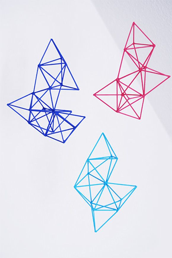 DIY mobiles roundup, including this wonderful geometric mobile made from toothpicks and glue.