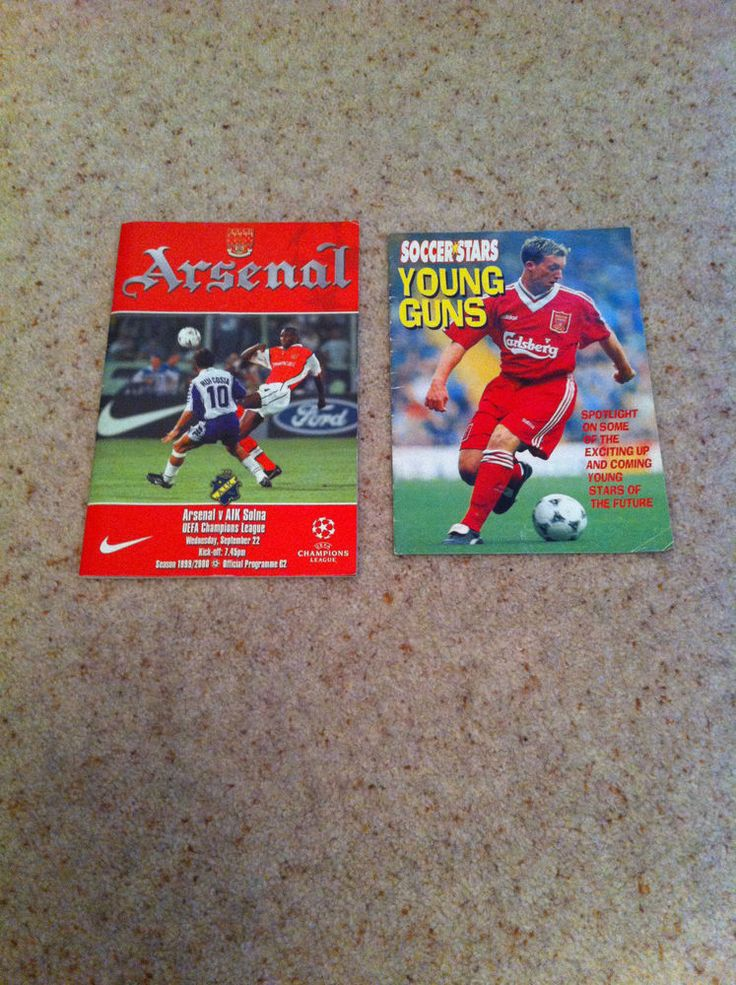 Arsenal Programme Arsenal Vs AIK Solna Sept 22 1999 & Young Guns Booklet Scholes