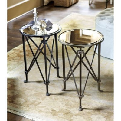 GUEST Olivia Mirrored Side TableOlivia Mirrored Side Table features: Dark antique brass with silver undertones Claw feet Ribbed collar details 149