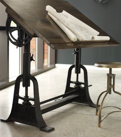French Architect Drafting Table,Taking inspiration from the offices of early 20th-century French architect's table from a bygone Industrial era, Industrial Crank Drafting Table, Antique drafting table, Drafting table, Wood drafting table, Portable drafting table,Vintage drafting table for sale,solid wood drafting table, wood craft table, wood drafting chair, wood drafting desk, wood drafting table