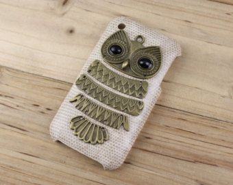 Bronze Owl & Skin Leather Hard Case Cover For iPhone 3, iPhone 3gs,iPhone 3g