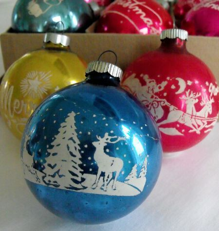 Vintage Christmas ornaments with stencil snow - Mid-Century--some of the 400 ornaments I still put on our tree  Y